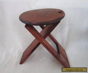 """Unique Vintage Folding Wood Wooden Stool Chair Mid Century Modern 15"""" X 11.5"""" for Sale"""