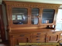 Antique Oak and Glass China Cabinet