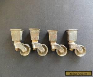 4 x Vintage Brass/Metal Chair Castors  for Sale