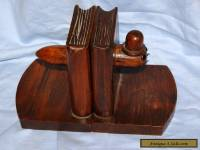 Old antique Wooden Bookends with comical Carved Book Worm