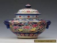 Chinese Jingdezhen Famille Rose Porcelain painted Flower Pot