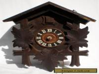 ANTIQUE GERMAN BLACK FOREST CHALET STYLE CUCKOO CLOCK WITH BRASS MOVEMENT