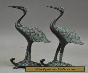 A Pair of Chinese Handwork Bronze Carved Crane Run Tortoise Statue for Sale