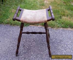 Vintage Antique Victorian Oak Saddle Stool Chair Egyptian Revival Style for Sale