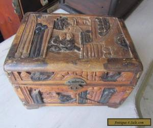 Antique Hand Carved Chinese Asian Camphor Wood Box Chest Brass Latch Old  for Sale