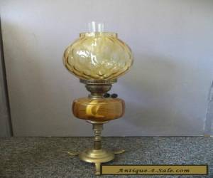 Edwardian Brass & Amber Glass 64 cm Oil Lamp for Sale