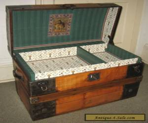 ANTIQUE STEAMER TRUNK VINTAGE VICTORIAN RUSTIC WOODEN FLAT TOP CHEST C1890 for Sale