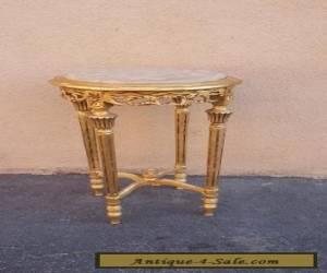 French Pedestal Table Vintage Gold Leaf Marble Top Louis XV Baroque for Sale