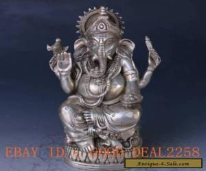 Chinese Cupronickel Handwork Carved Elephant Fortuna Statue for Sale