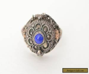 Antique Vintage Sterling Silver 925 Lapis Art Deco Filigree Pill Box Ring for Sale