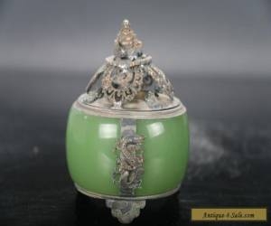 Retro  Exquisite carving dragon jade Incense burner smiling  Buddha lid E713 for Sale