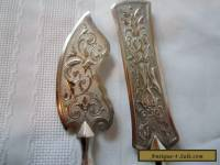 Antique Art Nouveau decorative pair of silver plate servers