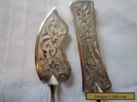 Antique Art Nouveau decorative pair of silver plate servers