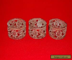 Antique Silver Plate Filigree Napkin Rings Set of 3 for Sale