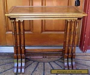 VINTAGE ESTATE SHERIDAN STYLE MAHOGANY INLAID NESTING TABLE SET for Sale