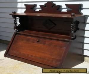 Antique Victorian Eastlake Carved Wooden Slant Top Cabinet Barley Twist Spindles for Sale