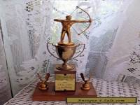VINTAGE 1957 BRASS WOOD ANTIQUE FIGURAL ARCHERY TROPHY