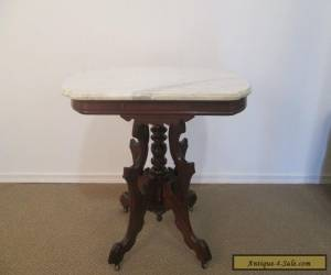 56823 Antique Victorian Marble Top Lamp Table Stand for Sale