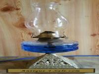 "ANTIQUE LARGE ""CLEAR GLASS OIL KEROSENE LAMP WITH SOLID BRASS BASE """