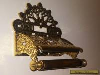 ELEGANT VINTAGE VICTORIAN ART NOUVEAU STYLE SOLID BRASS TOILET ROLL HOLDER