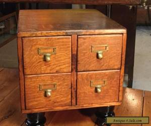 ANTIQUE 4 DRAWER TIGER OAK TABLE TOP LIBRARY CARD FILE CABINET  for Sale