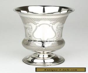 Large Solid silver engraved Kiddush cup goblet vase Austria 1880 Judaica  for Sale