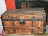 Antique Small Steamer Trunk Wooden Brides Chest Wallpaper Lined 1800s