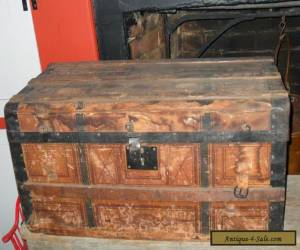 Antique Small Steamer Trunk Wooden Brides Chest Wallpaper Lined 1800s for Sale