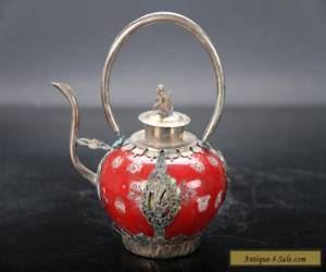 Retro painted flower Tibetan silver inlay porcelain teapot and monkey lid E716 for Sale