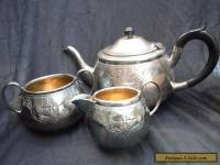 BEAUTIFUL ANTIQUE SOLID SILVER TEA SET.
