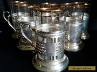 Vintage KARS  STERLING Silver TEA Glass Holder PIERSED W/FEDERAL GLASS Set of 6