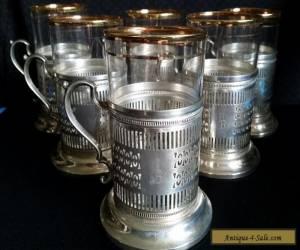Vintage KARS  STERLING Silver TEA Glass Holder PIERSED W/FEDERAL GLASS Set of 6 for Sale