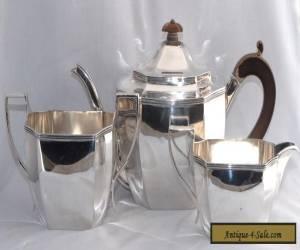1102g 1933/4 Art Deco 3 Piece Sterling Silver Tea Set J PARKES & CO for Sale