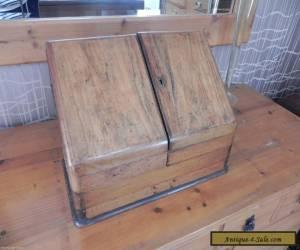 19th Century Victorian Oak and Walnut veneer? Desk Top Stationary Box for Sale
