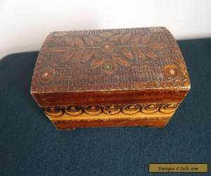 VINTAGE PYROGRAPHY CARVED BURNT WOODEN HINGED CHEST JEWELLERY TRINKET BOX for Sale