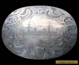 Beautiful Antique Sterling Silver Engraved Snuff Box Locomotive / Steam Boat for Sale