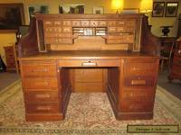 Antique Tiger Oak Roll Top S Desk