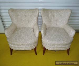 Vintage Pair Barrel Back Mid Century Lounge Club Chairs Danish Modern 051403 for Sale