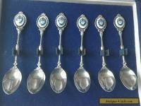 vintage boxed set of sterling silver and enamelled spoons