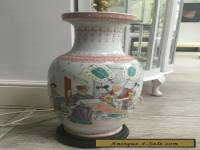 large antique vintage oriental chinese table lamp