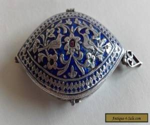 Antique Vintage Persian Silver~ Middle Eastern Blue Enamel Box with birds  for Sale