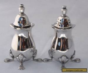 Vintage Strachan Silver Plate Salt & Pepper Shakers, Claw Feet for Sale