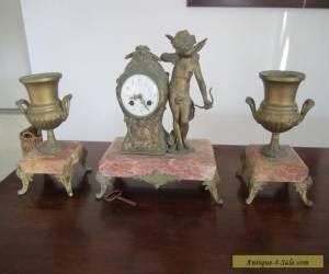 Antique French Mantel Garniture Clock Set for Sale