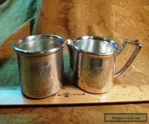 Vintage Wear-Brite Nickel Silver United Airlines Creamer & Sugar Set - Free S&H for Sale