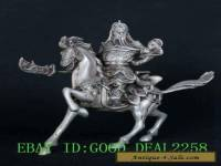 Cupronickel Handwork Carved Hero Guangong Horse Riding Statue