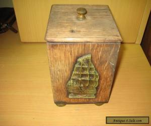 Antique Oak Tea Caddy With Metal Lining And Brass Ship Badge. for Sale
