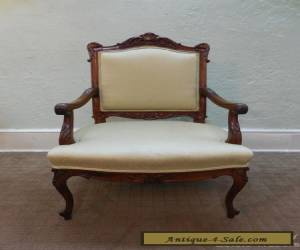 Antique French Louis XV Style Carved Open Arm Chair Fauteuil for Sale