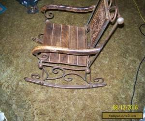 very rare child rocking chair metal and wood for Sale