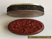 ANTIQUE,VINTAGE CHINESE  OVAL SHAPE SILVER CARVED CINNABAR TRINKET/PILL BOX.
