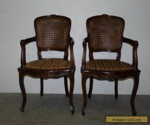 Pair Vintage Antique French Cane Back Arm Chairs Louis XV Walnut 110713 for Sale